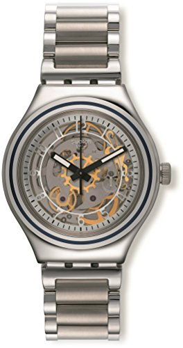412BdjuK33pL - Swatch Irony Uncle Charly Silver Dial Stainless Steel Unisex Watch YAS112G