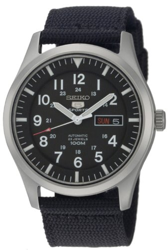 41Jl3ueunHL - Seiko Men's SNZG15 Seiko 5 Automatic Stainless Steel Watch with Nylon Strap