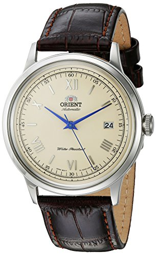 51KZJ1y3WaL - Orient Men's '2nd Gen. Bambino Ver. 2' Japanese Automatic Stainless Steel and Leather Dress Watch