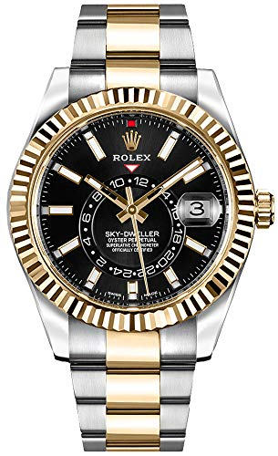 51ouBSiceeL - Luxury Rolex Sky-Dweller Black Dial Gold & Steel Mens Watch - Reference: 326933