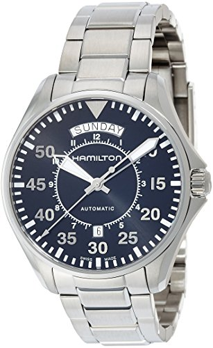 51sUC 3MkkL - Hamilton Men's 'Khaki Aviation' Swiss Automatic Stainless Steel Dress Watch, Color:Silver-Toned (Model: H64615135)