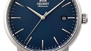 41USBmZPhtL 300x169 - Orient RA-AC0E04L Men's Maestro Leather Band Minimalist Blue Dial Automatic Watch