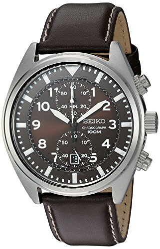516EvNUqJQL 1 - Seiko Men's SNN241 Stainless Steel Watch with Brown Leather Band