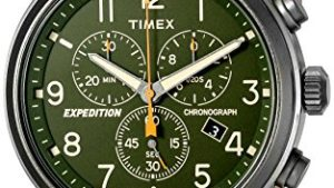 51XRpelNxrL 300x169 - Timex Men's Expedition Scout Chrono Leather Strap Watch