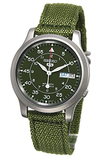 51bd2MB3PyL - SEIKO Men's SNK805 SEIKO 5 Automatic Stainless Steel Watch with Green Canvas