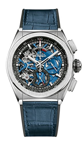 51mPBmsjfNL - Zenith Mens Defy El Primero 21 44mm Titanium Skeleton Blue Watch 95.9002.9004/78.R584