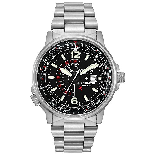 515dM8wjyKL - Citizen Men's Eco-Drive Promaster Nighthawk Dual Time Watch with Date, BJ7000-52E