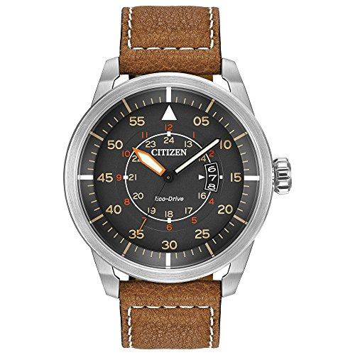51d9iomhyhL - Citizen Men's Eco-Drive Watch in Stainless Steel and Brown Leather Strap Watch with Date, AW1361-10H