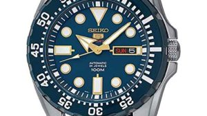 51VGob8ZQ2L 300x169 - SEIKO Men's Year-Round Acciaio INOX Automatic Watch with Rubber Strap, Blue, 20 (Model: SRP605K2)