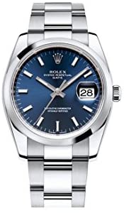 31Mu9YacemL. AC  - Rolex Date 34mm Blue Dial Stainless Steel Men's Watch 115200