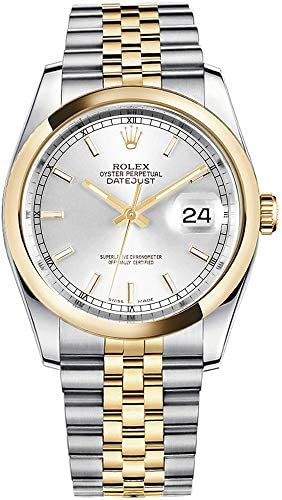 41dV3P7SaeL. AC  - Rolex Datejust 36 116203 Silver Dial Gold & Steel Jubilee Mens Watch