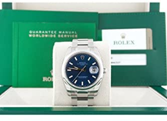 41gWsUhP+tL. AC  - Rolex Date 34mm Blue Dial Stainless Steel Men's Watch 115200