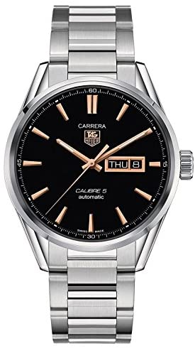 51PXQZH6hAL. AC  - Tag Heuer Carrera Calibre 5 Black Dial Stainless Steel Mens Watch WAR201CBA0723