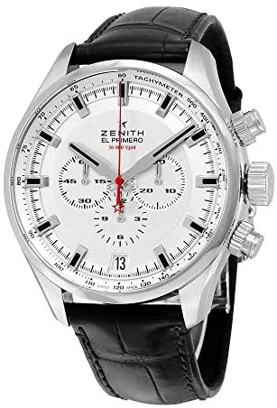 51aUmUtQ8dL. AC  - Zenith El Primero Sport Chronograph Automatic Silver Dial Brown Leather Mens Watch 03228040001C713