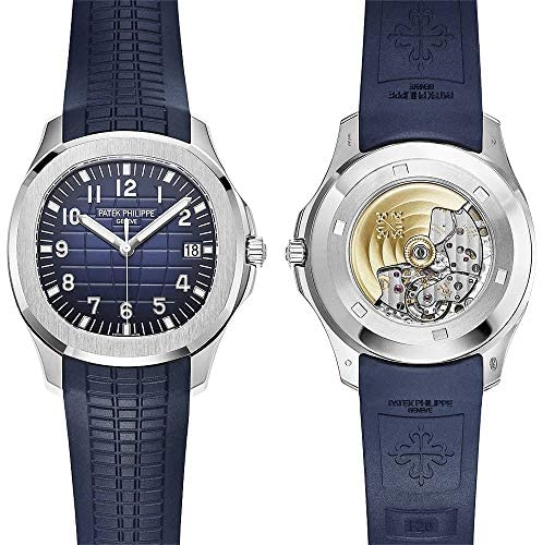 51nAuWiuP+L. AC  - Patek Philippe 20th Anniversary Aquanaut 18K White Gold Watch Composite Strap 5168G-001