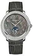31ymLsd4s0L. AC  - Patek Philippe Complications Black Mother of Pearl Dial Diamond Bezel 18kt White Gold Leather Ladies Watch 4968G-001