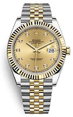 4123vkcFynL. AC  - Rolex Datejust 41 Two Tone Oystersteel and 18k Yellow Gold/Jubilee Bracelet / 126333-0012 / Champagne Diamond Dial