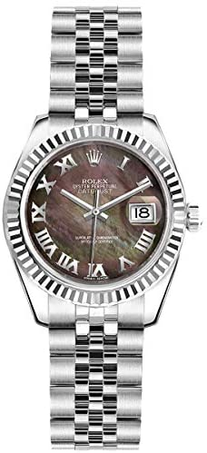 41DihwvNqkL. AC  - Women's Rolex Lady-Datejust 26 Watch Dark Mother of Pearl Roman Numeral Dial (Ref: 179174)