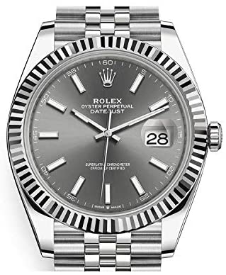 41GuUOc9gwL. AC  - Men's Rolex Datejust 41 Dark Rhodium Dial Stainless Steel Watch on Jubilee Bracelet