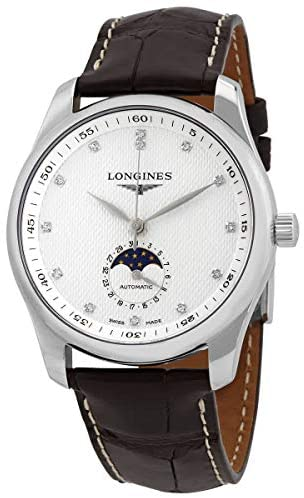 41aZ7Vc8upL. AC  - The Longines Master Collection Moonphase Automatic Silver Dial with Diamonds, Brown Alligator Strap L2.909.4.77.3