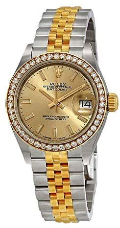 41kYxl2N45L. AC  - Rolex Lady Datejust Automatic Chronometer Diamond Champagne Dial Ladies Watch 279383rbr-0001