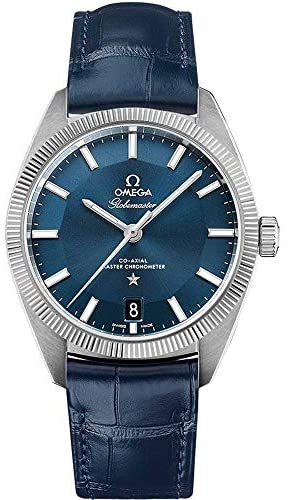 510qQTCIEHL. AC  - Omega Constellation Globemaster Blue Dial and Leather Strap Men's Watch