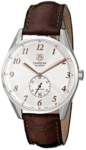 51Nb0LGDuxL. AC  - Tag Heuer Men's 'Carrera' Silver Dial Brown Leather Strap Watch WAS2112.FC6181