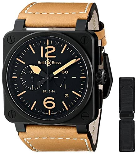 51RQ9Ic vIL. AC  - Bell & Ross Men's BR03-94-HERITAGE Avation Watch with Beige Leather Strap