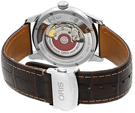 51SIvz+MN L. AC  - Oris Artelier Automatic Regulator Watch - Mens 40mm Analog Silver Face with Second Hand, Date and Sapphire Crystal - Brown Leather Band Self Winding Swiss Made Luxury Watches for Men 749 7667 4051
