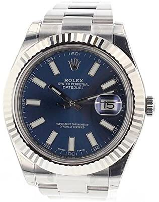 51dEXLFL5ML. AC  - Rolex Datejust Ii 41mm Steel Blue Dial Men's Watch 116334