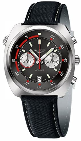 51hCmGc3VvL. AC  - Longines Heritage Diver 43 MM Automatic Chronograph Black and Red - L2.796.4.52.0