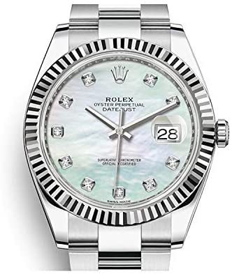 419fWXNOmrL. AC  - Rolex Datejust 41 Automatic White Mother of Pearl Diamond Dial Men's Watch 126334MDO