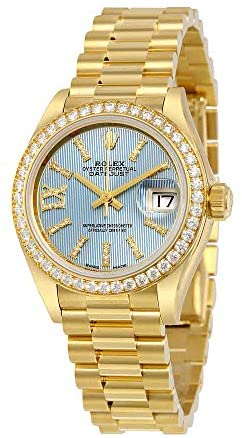 41i5e9rglqL. AC  - Rolex Lady-Datejust 28 Cornflower Blue Dial 18K Yellow Gold President Automatic Ladies Watch 279138BLSRDP