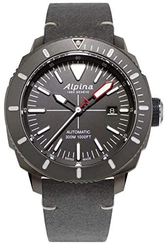41ixXdLGonL. AC  - Alpina Men's Seastrong Diver Titanium/Stainless Steel Swiss Automatic Sport Watch with Leather Calfskin Strap, Gray, 22 (Model: AL-525LGGW4TV6)