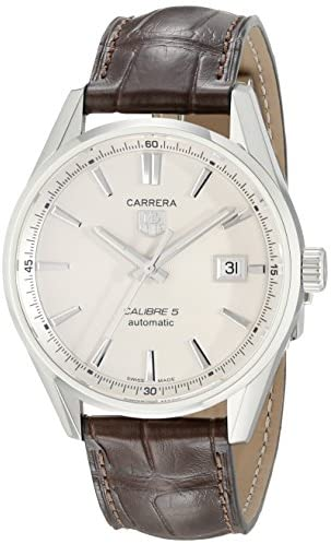 41u9ONCSOoL. AC  - TAG Heuer Men's WAR211B.FC6181 Carrera Stainless Steel Automatic Watch with Brown Leather Band