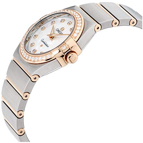 41zGCMiyhXL. AC  - Omega Constellation Diamond Mother of Pearl Dial Rose Gold and Steel Ladies Watch 12325276055001