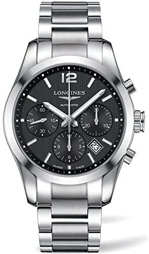 513mPmRvb6L. AC  - Longines Conquest Classic Automatic Black Dial Stainless Steel Mens Watch L27864566