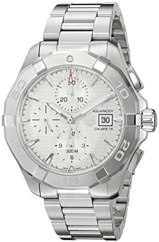 517q1g8pUFL. AC  - TAG Heuer Men's 'Aquaracer' Swiss Automatic Stainless Steel Dress Watch, Color:Silver-Toned (Model: CAY2111.BA0927)