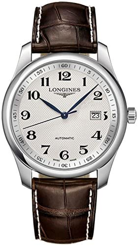 517qltfLqgL. AC  - Longines Master Silver Dial Brown Leather Watch