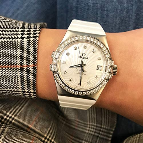 51CEOgm8yIL. AC  - Omega Constellation 18k White Gold MOP Dial Diamond Watch 123.57.35.20.55.005