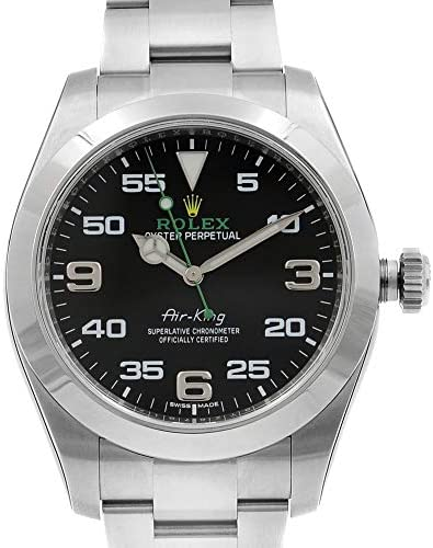 51Hx98s6hCL. AC  - Rolex Air King Black Dial Stainless Steel Mens Watch 116900BKAO