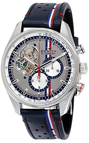 51IIdHlnpqL. AC  - Zenith El Primero Chronomaster Chronomaster Automatic Grey Dial Blue Leather Mens Watch 032044406101C746