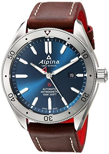 51sERx0SqWL. AC  - Alpina Men's Alpiner 4 Stainless Steel Automatic-self-Wind Watch with Leather Strap, Brown, 22 (Model: AL-525NS5AQ6)