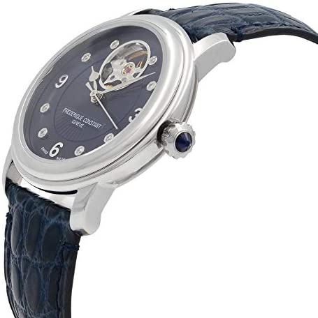 411zE+C4e8L. AC  - Frederique Constant Women's Ladies Stainless Steel Automatic-self-Wind Watch with Leather-Alligator Strap, Blue, 19 (Model: FC-310HBAND2P6)