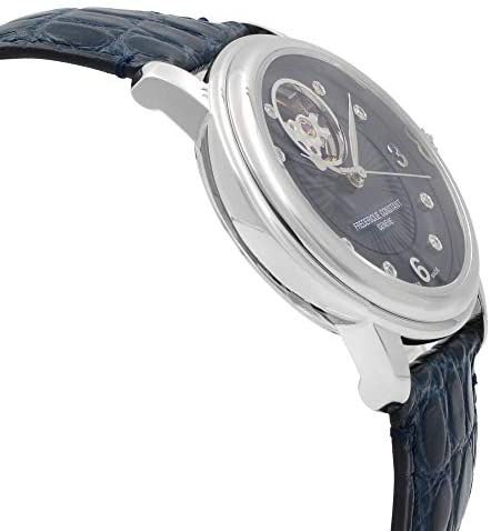 41cpkJPvWHL. AC  - Frederique Constant Women's Ladies Stainless Steel Automatic-self-Wind Watch with Leather-Alligator Strap, Blue, 19 (Model: FC-310HBAND2P6)