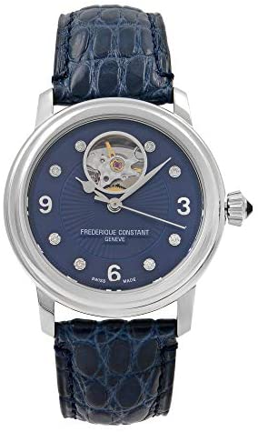 41h3hXum0dL. AC  - Frederique Constant Women's Ladies Stainless Steel Automatic-self-Wind Watch with Leather-Alligator Strap, Blue, 19 (Model: FC-310HBAND2P6)