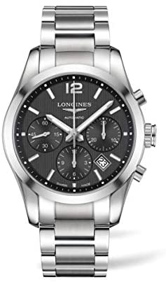 41qx4pkzA7L. AC  - Longines Conquest Classic Automatic Black Dial Stainless Steel Mens Watch L27864566