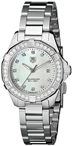 41yic+W9l5L. AC  - TAG Heuer Women's WAY1414.BA0920 Aquaracer Diamond-Accented Stainless Steel Watch