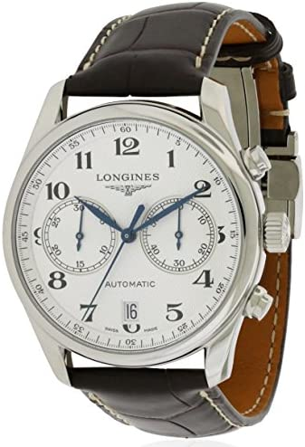 51 H9wmp1TL. AC  - Longines Master Chronograph Silver Dial Brown Leather Mens Watch L26294783