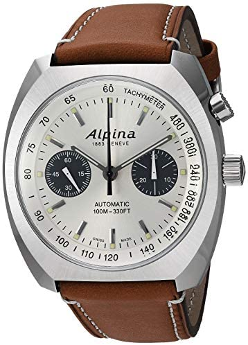 51PHJbITppL. AC  - Alpina Men's Startimer Pilot Heritage Stainless Steel Swiss Automatic Aviator Watch with Leather Calfskin Strap, Brown, 23 (Model: AL-727SS4H6)